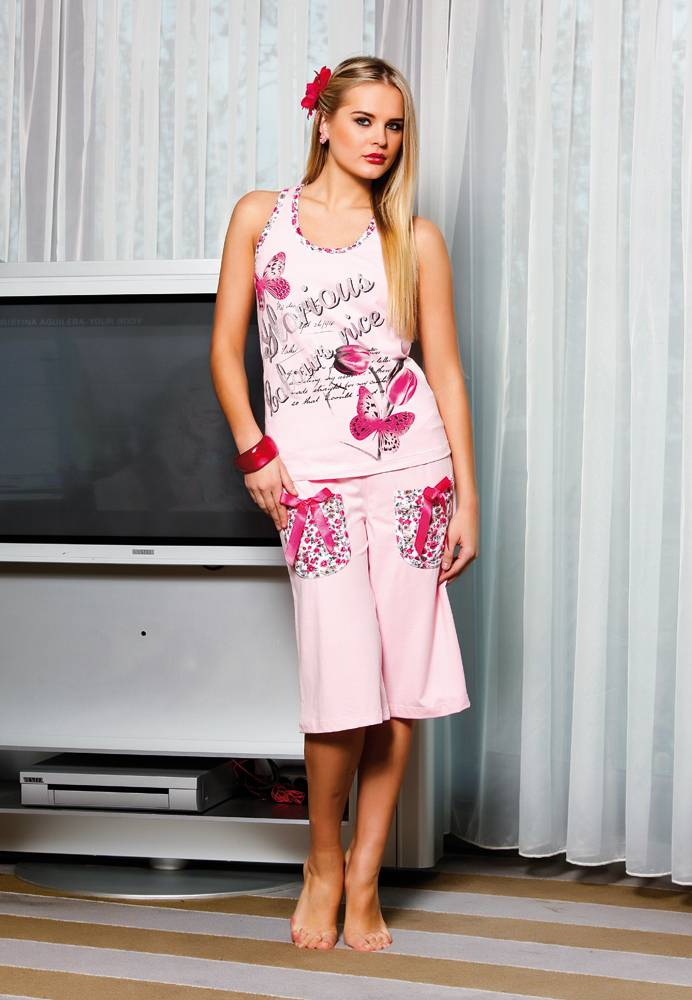 Yakıcı Çiçek Baskılı Pijama Takım 3670-1