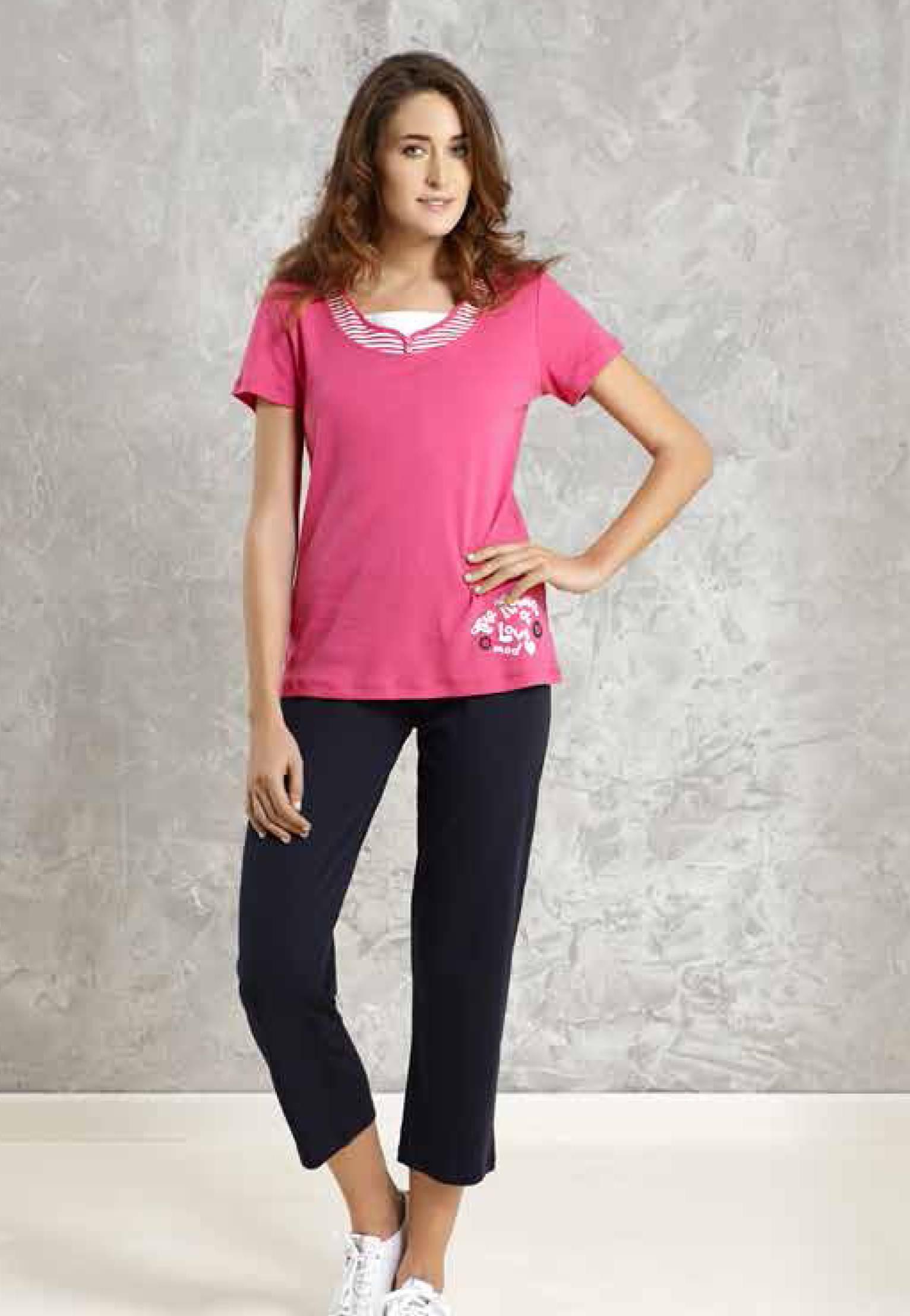 Mod Collection Bayan T-Shirt-Kapri Takımı 1414