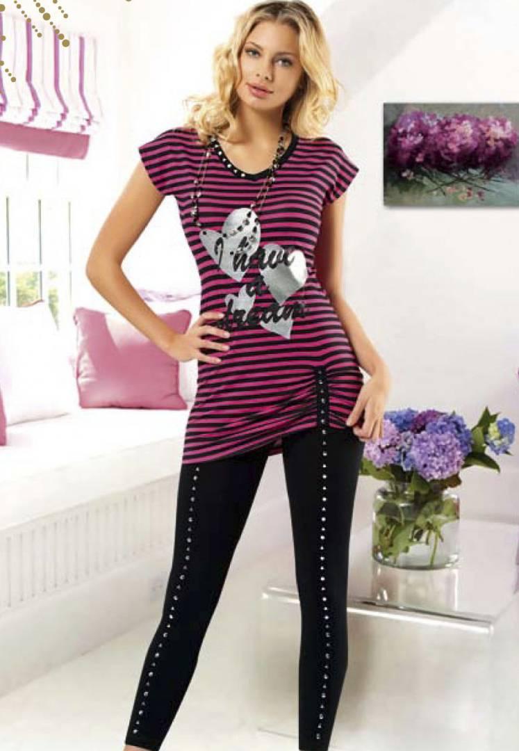 Anıt İç Giyim Çizgili Kalp Baskılı Tayt Takım 4323
