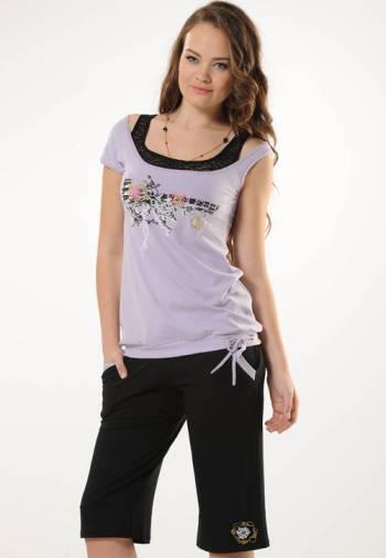 Anıt İç Giyim Lila Dantelli Şort Takım 4372
