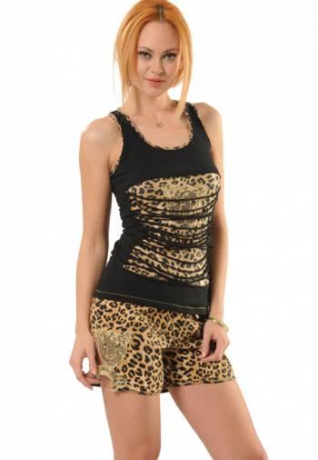 Anıt İç Giyim Pullu Leopar Şort Takım 4378