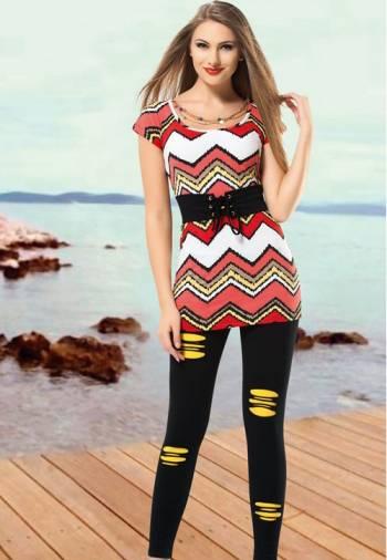 Anıt İç Giyim Renkli Çizgili Tayt Takım 4399