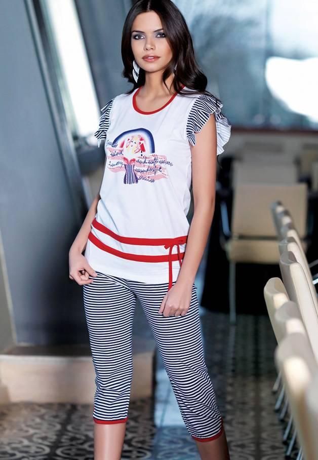 Berrak Bayan Çizgili Cruise Kaprili Takım 2422