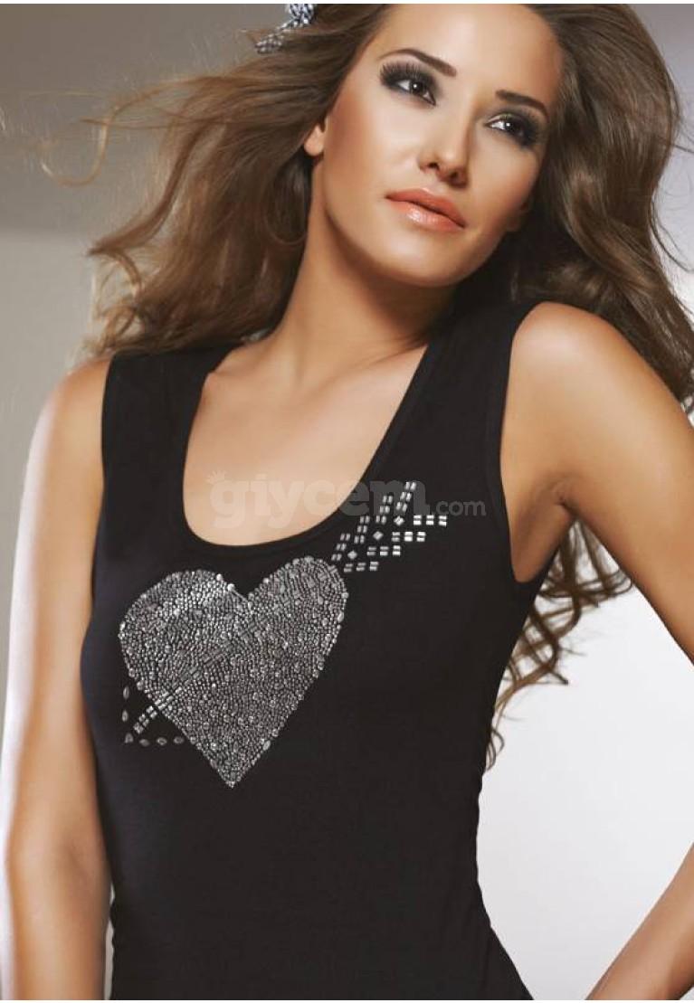 X-Lady T-Shirt Kalpli Taşlı 7086