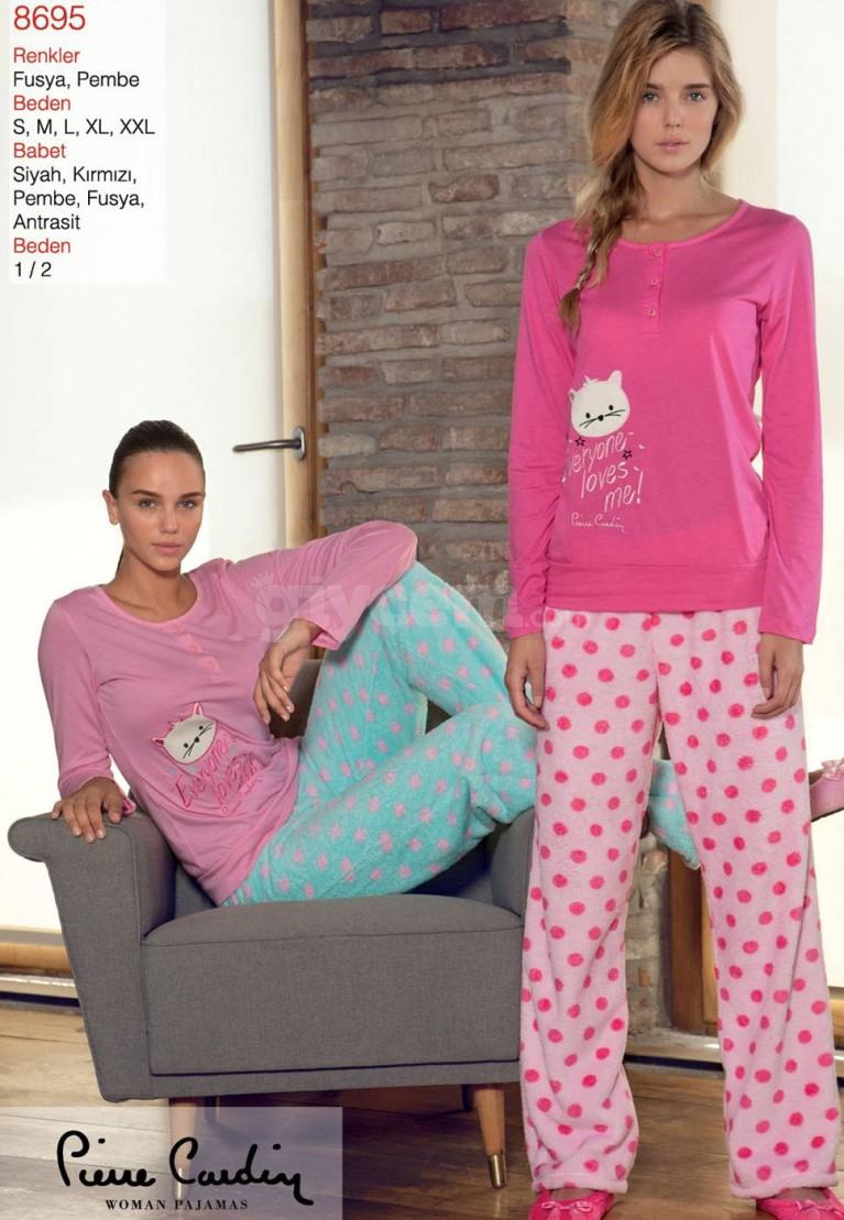 Pierre Cardin Puanlı Polar Patlı Pijama Takımı 8695