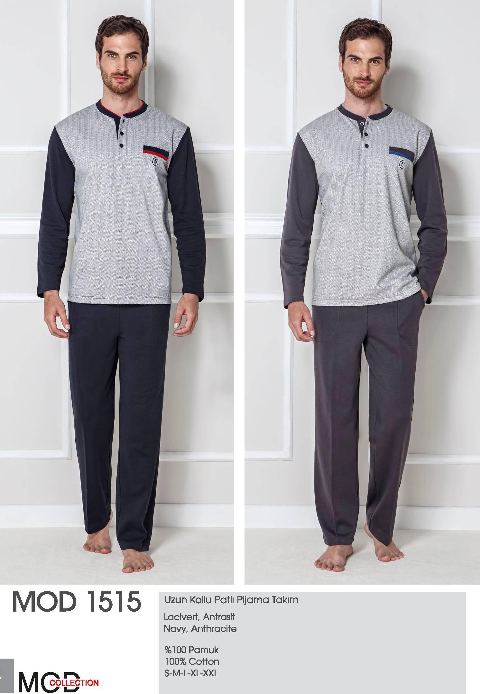 Mod Collection Bay Uzun Kollu Patlı Pijama Takım 1515