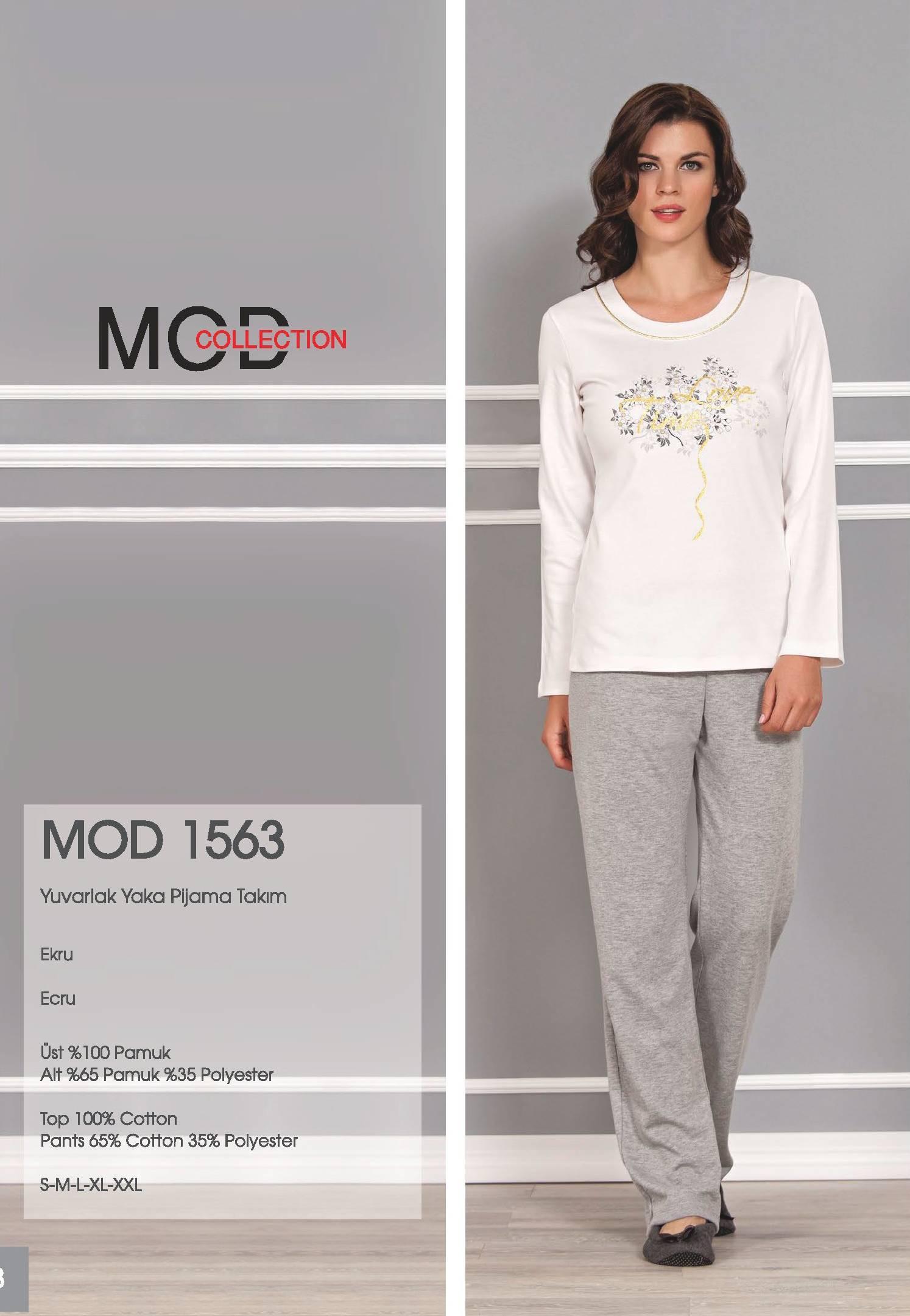Mod Collection Bayan Yuvarlak Yaka Pijama Takım 1563
