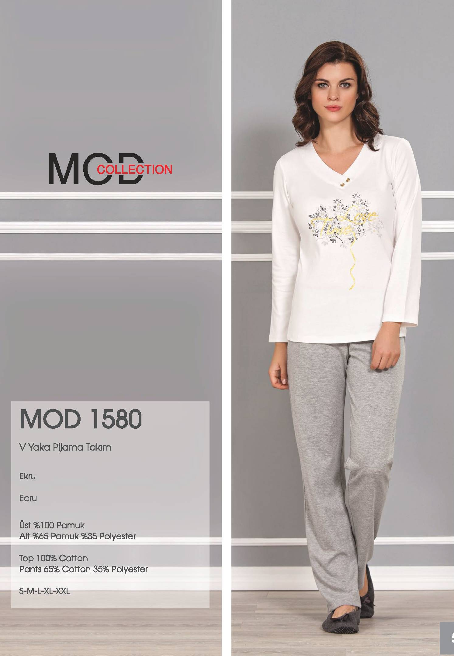 Mod Collection Bayan V Yaka Pijama Takım 1580