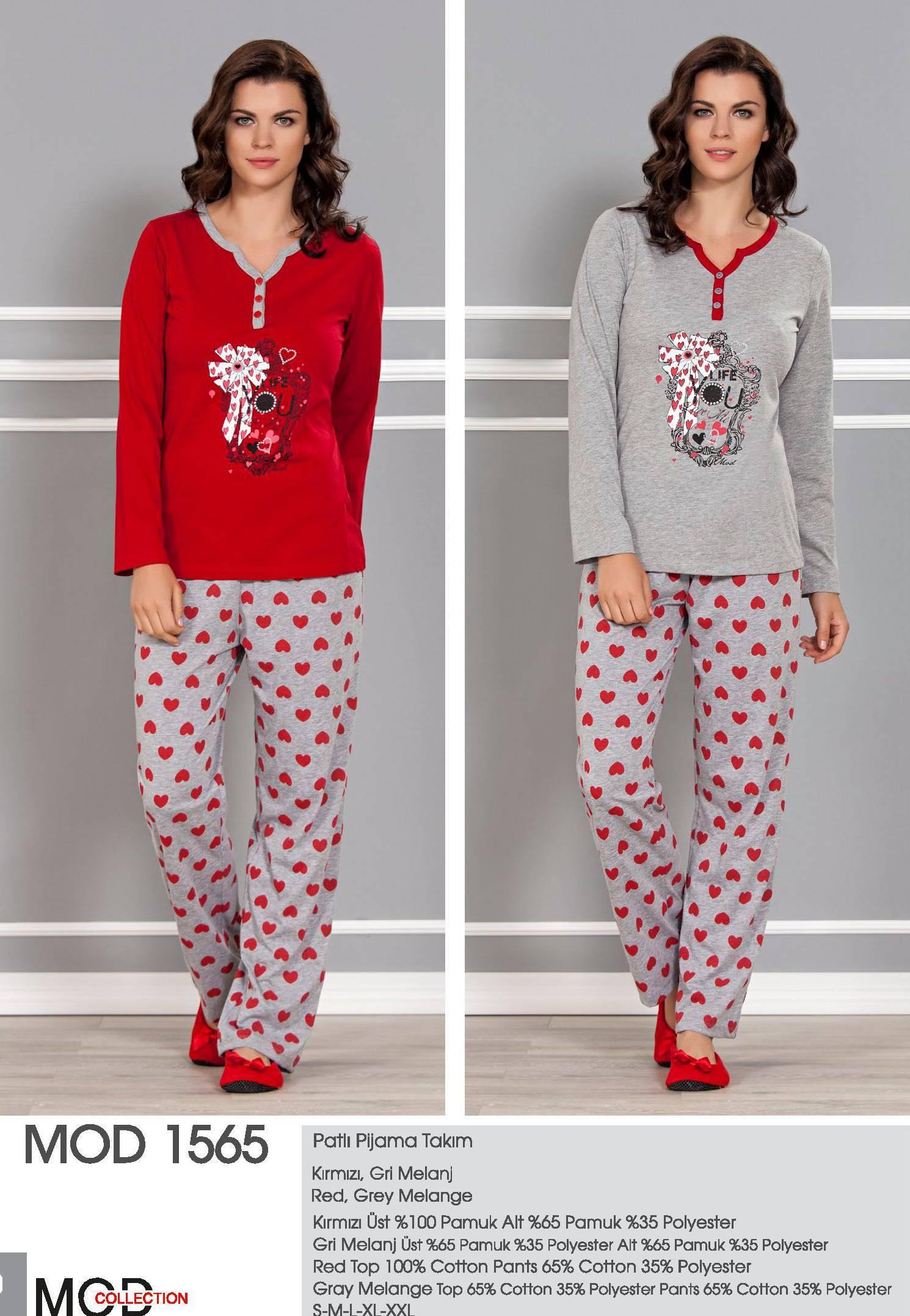 Mod Collection Bayan Patlı Pijama Takım 1565