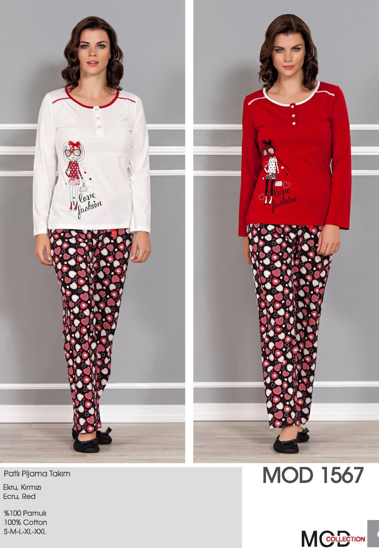 Mod Collection Bayan Patlı Pijama Takım 1567